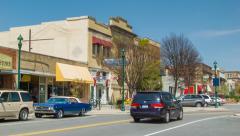 Cars Driving Down Main Street Hendersonville North Carolina Stock Footage