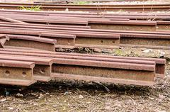 old train rails - stock photo