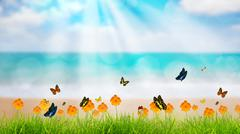 fresh spring green grass with butterfly and flower near beach, summer time - stock illustration