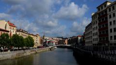 Bilbao. River timelapse. Casco Viejo Stock Footage