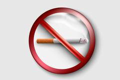 no smoking sign with a realistic cigarette - stock illustration