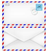 Airmail envelope with stamps. Stock Illustration