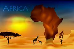 africa, savannah fauna and flora - stock illustration