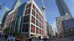 4K Downtown Toronto Establishing Shot Fish Eye Lens Stock Footage