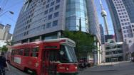 Stock Video Footage of 4K Toronto Trolley and CN Tower