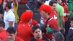 Swiss celebrating victory against Ecuador - stock footage