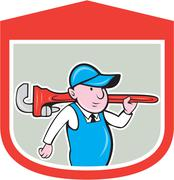 Plumber holding big monkey wrench shield cartoon Stock Illustration