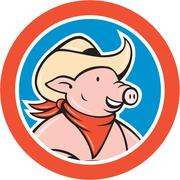 Pig cowboy head circle cartoon Stock Illustration