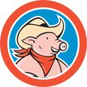 Stock Illustration of pig cowboy head circle cartoon