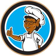 african american chef cook thumbs up circle - stock illustration