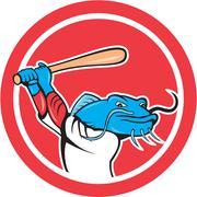 catfish baseball player batting cartoon - stock illustration