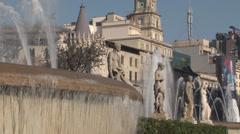 Barcelona - Catalonia - Spain - Plaça de Catalunya - Fountain - HD Stock Footage
