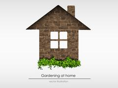 brick house with grass - stock illustration