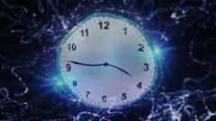 Clock and Time Travel Concept Flag, Textile Background Stock Footage