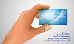 business card in hand - stock illustration