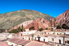 Purmamarca, quebrada de humahuaca, hill of seven colours, andes, chile-argent Stock Photos
