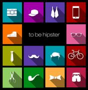 colorful icons hipster - stock illustration