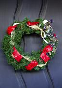 Christmas wreath decoration mission san luis obispo de tolosa california Stock Photos