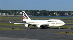 Air France Boeing 747, taxies to runway Stock Footage
