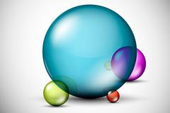 Colorful, 3D glass balls - stock illustration