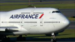 Air France 747 airplane up-close - stock footage