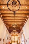 Mission san luis obispo de tolosa california wooden ceiling basilica cross al Stock Photos