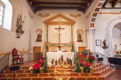 Mission san luis obispo de tolosa california basilica cross altar Stock Photos