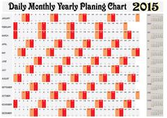 Daily monthly yearly planing chart 2015 Stock Illustration
