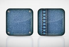 Denim application icons. texture jeans Stock Illustration