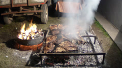 Cooking meat, ribs, BBQ for many people Stock Footage