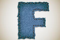 Denim letter alphabet texture jeans. - stock illustration