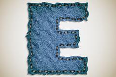 Stock Illustration of Denim letter alphabet texture jeans.