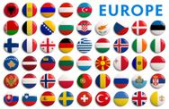 Stock Illustration of Europe countries flags - 3D realistic