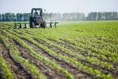 Combine harvester harvesting crop Stock Photos