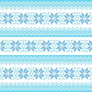 Winter, Christmas blue seamless pixelated pattern with snowflakes Stock Illustration