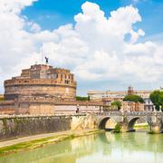Sant Angelo Castle and Bridge in Rome, Italia. Stock Photos