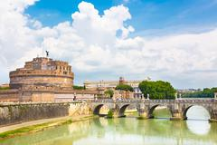 Sant Angelo Castle and Bridge in Rome, Italia. - stock photo