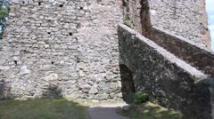 Medieval castle tower in small German town Saarburg. Stock Footage