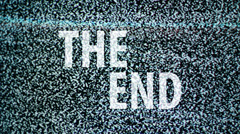 The End title on TV noise background. Ending sequence. Stock Footage