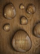 dew drops on a wooden background - stock illustration