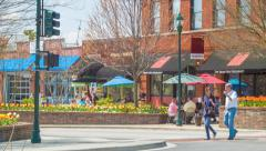 Eclectic Main Street Corner during Spring in Hendersonville NC Stock Footage