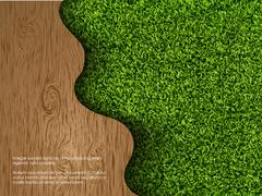 Ecological concept of grass with wood Stock Illustration