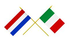flags, netherlands and italy - stock photo
