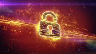 Stock Video Footage of Digital padlock cyber security concept