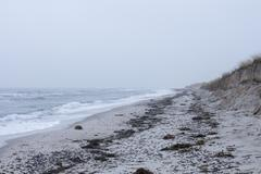 Tranquil view of Baltic Sea against overcast sky, Prerow, Germany Stock Photos