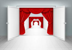 entrance doors with red curtains - stock illustration