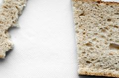 cutted and ripped bread background - stock photo