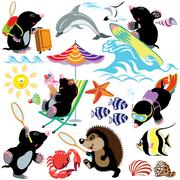 Set mole on a beach Stock Illustration