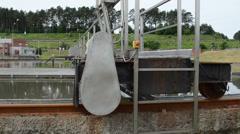 Panorama sewage water treatment. sludge settler tank reservoir Stock Footage
