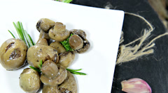 Homemade grilled mushrooms with some fresh herbs (not loopable) Stock Footage